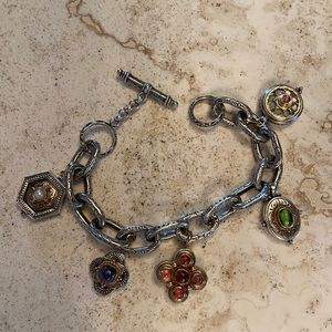 KONSTANTINO SILVER AND 18K GOLD CHARM BRACELET